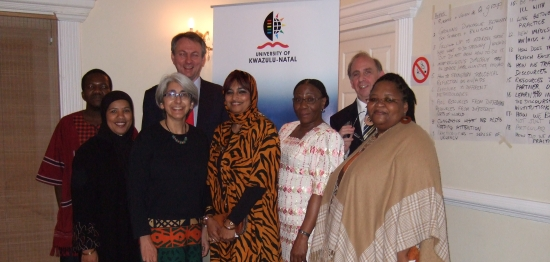 At the dinner hosted by UKZN are, left to right: Dr Ezra Chitando (EHAIA, University of Zimbabwe), Ms Faghmieda Muller (Positive Muslims), Dr Beverley Haddad (UKZN), Prof Steve de Gruchy (UKZN), Ms Shahieda Abrahams (Positive Muslims); Prof Fikile Mazibuko (DVC College of Humanities, Development and Social Sciences, UKZN); Prof Donal McCracken (Dean of the Faculty of Humanities, Development and Social Sciences, UKZN), Ms Bongi Zengele, Ujamaa Centre for Community Development and Research